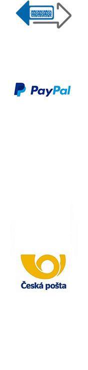 Převodem na účet, Dobírkou, Online platební bránou GoPay, Česká pošta Balík do ruky, Česká pošta Balík na poštu, Doprava na Slovensko, Doprava mimo ČR a SK